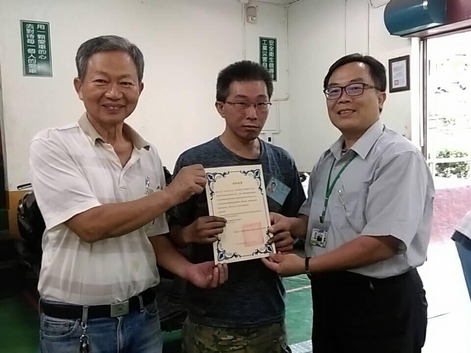 108年機車班頒發結訓證書